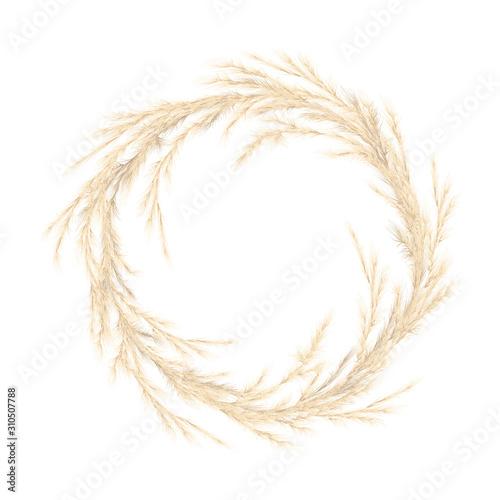 Fotografie, Tablou  Pampas grass golden wreath