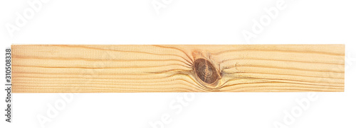 Photo Wooden beam isolated on white background. Pine wooden bar.