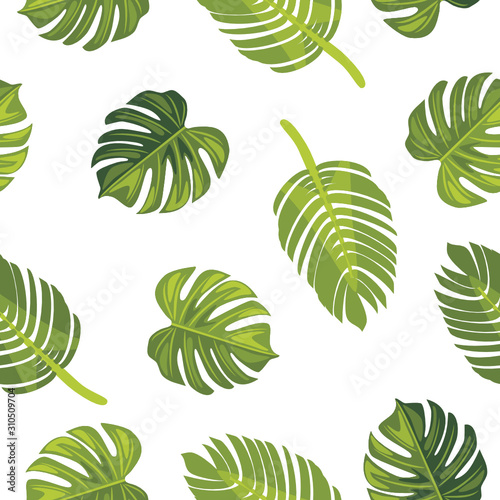 fototapeta na szkło Seamless pattern with tropical leaves