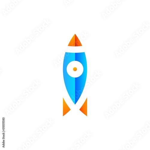 Unique logo design of rocket with blue and orange color - EPS10 - Vector Canvas Print