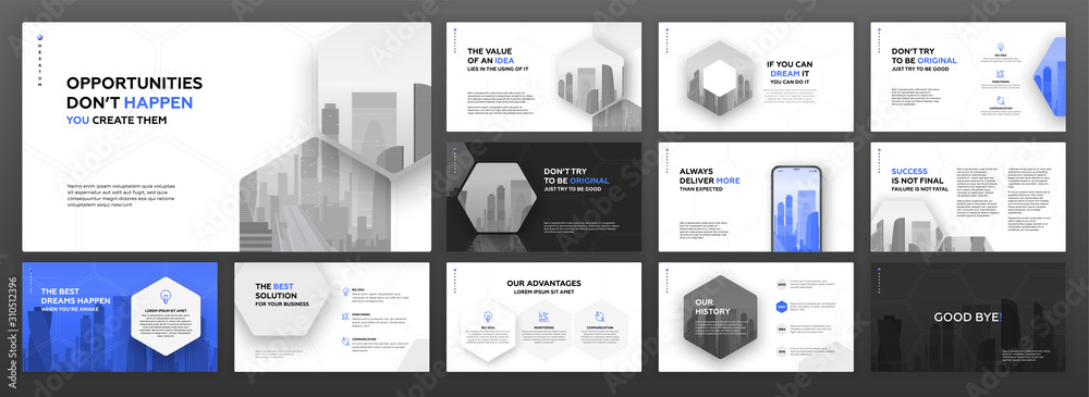 Fototapeta Modern powerpoint presentation templates set for business and construction. Use for brochure design, keynote template, landing page, annual report, company profile, portfolio, social media banner.