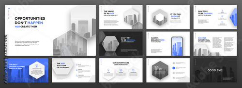 Fotografía Modern powerpoint presentation templates set for business and construction