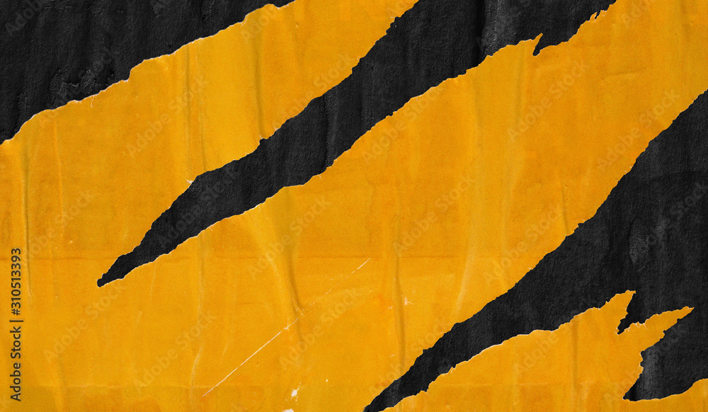 Old blank yellow black ripped torn posters grunge texture background creased crumpled paper backdrop placard surface / Empty space for text