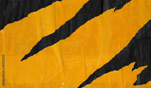 Obraz Old blank yellow black ripped torn posters grunge texture background creased crumpled paper backdrop placard surface / Empty space for text - fototapety do salonu