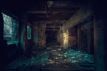Dark Creepy Industrial Tunnel Or Corridor With Destruction And Debris After Crisis Or Disaster, Toned