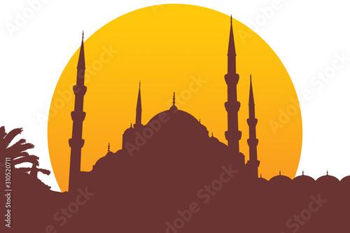 Stampa su Tela Moschea silhouette