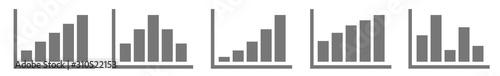 Fototapeta Bar Graph Icon Gray Silver | Bar Diagram | Chart Symbol | Curve Logo | Growth Sign | Isolated | Variations obraz