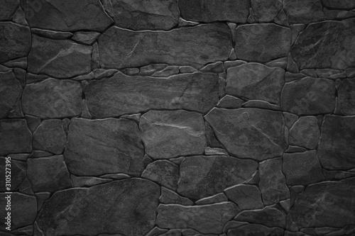 Black stone wall - 310527395