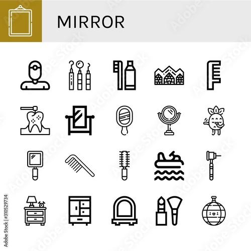 Fototapeta mirror simple icons set obraz na płótnie