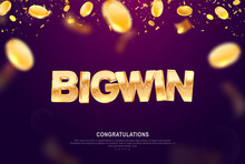 Big Win Gold Sign Vector Banne...