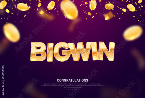 Canvas Big win gold sign vector banner for gambling template