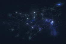Ursa Major Constellation Stars In Outer Space. Zodiac Sign Aquarius Constellation Lines. Elements Of This Image Were Furnished By NASA