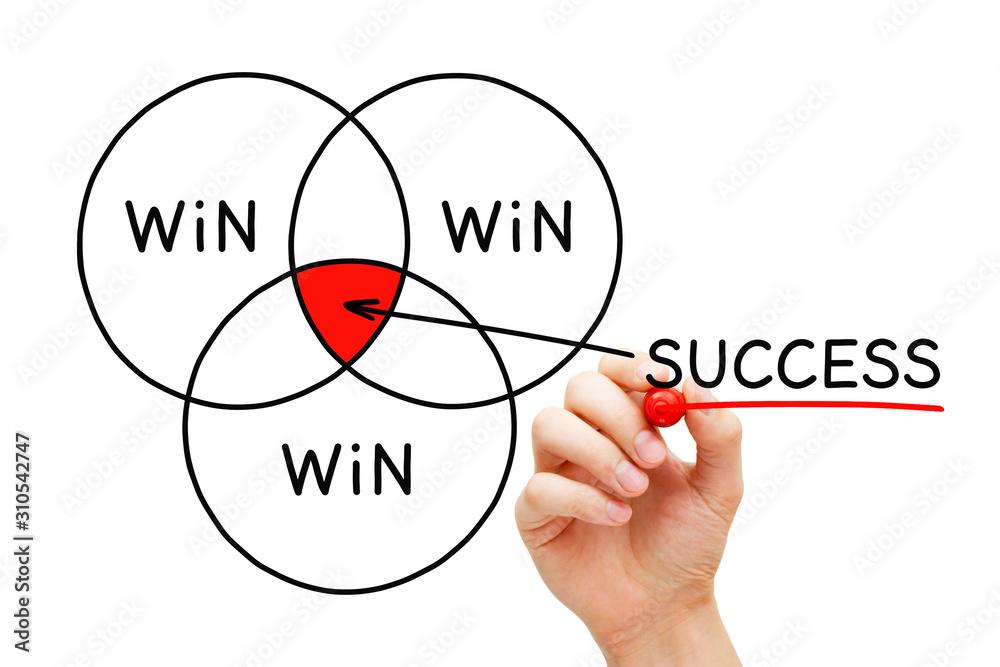 Valokuva Win Win Win Success Diagram Concept