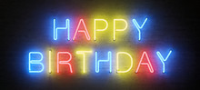 Colored Neon Sign, Happy Birth...