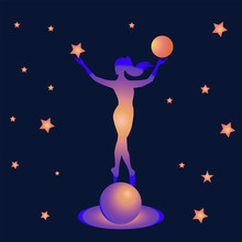 Girl On A Bright, Illuminated Planet - In Her Hands A Ball Of Fate - Starry Sky - Art, Illustration, Vector. Magic. Occultism. Philosophy.