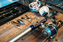 Fishing Rods And Tackles On Th...