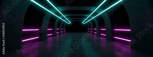 Colored neon lamps in a dark tunnel. 3d rendering image. - 310554934