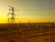 Leinwanddruck Bild - The power supply facilities of contour in the evening