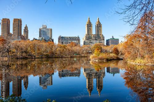Fototapeta Fairy park in a fabulous city..The Central Park  at Autumn. New York City obraz