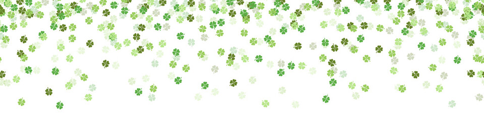 Green clover new year luck confetti falling seamless pattern background isolated