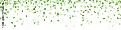 Fotomural Green clover new year luck confetti falling seamless pattern background isolated