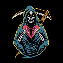 Grim Reaper Holding Heart Sign Vector Illustration. Skull Design On The Theme Of Valentine's Day.  Hand Drawn Illustration For Tshirt Design, Sticker, Poster, Banner, Flyer Or Web Landing Page