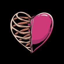 Heart And Skeleton Illustration. Love Sign Half Of Skull Design. Valentines Day Illustratiion For Tshirt Design. Sticker, Banner, Flyer, Web Landing Page Or Poster