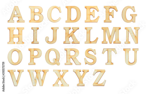 Fototapeta English alphabet letters set over white background. Set of flat wood character font. obraz