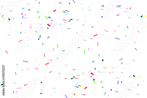 Obraz Colorful confetti floating on air over white background. Celebration decorative for new year or festival element. - fototapety do salonu