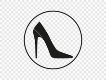 High Heel Shoe Icon. Vector Illustration, Flat Design.