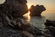 Sun Among The Rocks On A Rocky...