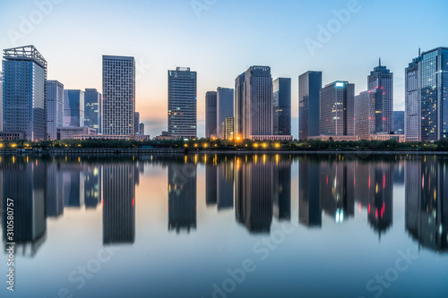 Fototapety, obrazy: modern city waterfront downtown skyline,China.