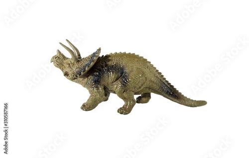Triceratops dinosaur plastic toy on white background Canvas Print
