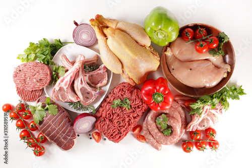 assorted of raw meats on white background Wallpaper Mural