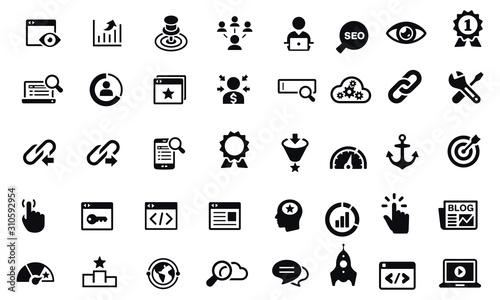 Obraz Search Engine Optimization Icons vector design black and white  - fototapety do salonu