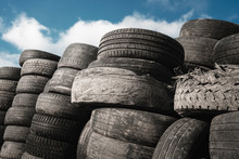 Old Used Tires. Junkyard. Recy...
