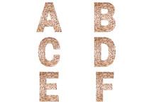 Wicker Font Alphabet A, B, C, ...