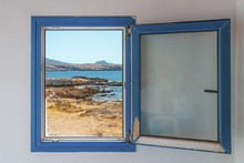 Old Wooden Blue Window With Th...