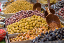 Olives. Of All Varieties And In All Shapes! Blacks, Greens, Bigs, Little Ones, Syrians, Arabs, Bloody, Conquered, And Skulls. Kosher Food, Mahane Yehuda Market, Jerusalem, Israel.