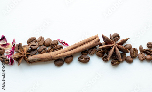 Fototapeta Coffee beans cinnamon sticks and star anise. Whole grains with aromatic spices, roasted coffee, blur. obraz