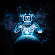 Terror Beyond The Stars / 3D Illustration Of Science Fiction Scene With Ominous Skeleton Astronaut Rising Behind Moon Outer Space Amid Glowing Galaxies