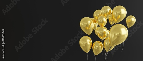 Balloons in gold on black background, banner size, 3d render Canvas Print