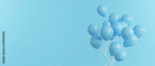 Balloons in blue on blue background, banner size, 3d render Canvas Print
