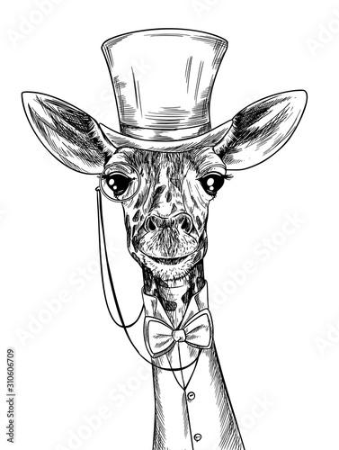 Elegancka żyrafa z monoklem, ubrana w apartamencie