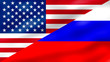 Flag of United States of America and Flag of Russia