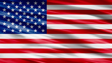 American Flag Of United States Of America- Waving Flag, Silky Texture Illustrated