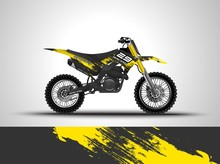 Racing Motorcycle Wrap Decal And Vinyl Sticker Design. Concept Graphic Abstract Background For Wrapping Vehicles, Motorsports, Sportbikes, Motocross, Supermoto And Livery. Vector Illustration. Yellow