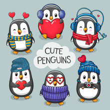 Cute Cartoon Character Penguins Set Of Valentine's Day And Love