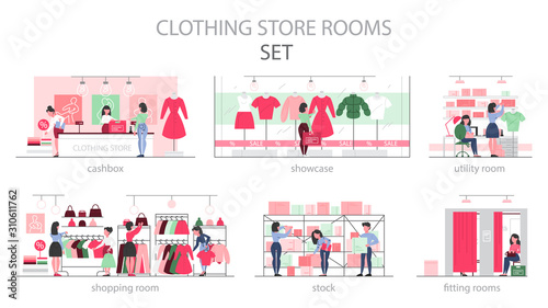 Clothing store room set. Clothes for men and women. Fotobehang