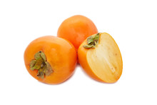 Persimmon Fruits Isolated On W...